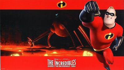 THE INCREDIBLES (2004) Complete Set of 8 Widescreen-Format Lobby Cards PIXAR
