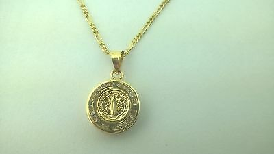 14K SOLID GOLD  San Benito St- Benedict medal,Pendant Charm With Figaro Chain
