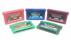 Pokemon: FireRed, LeafGreen, Ruby, Sapphire and Emerald combo (Nintendo Gameboy)