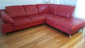 Red Leather 3 Seater Chaise Lounge Newport Pittwater Area Preview
