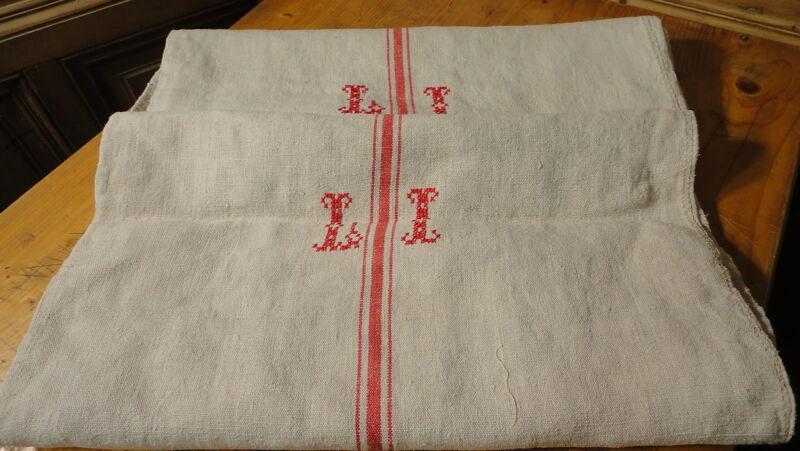 Antique GRAIN SACK Feed Sack European LI monogram #6403