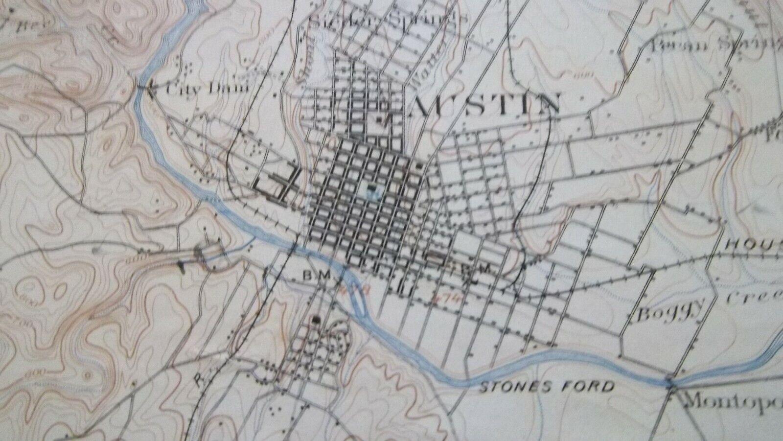 1901 Topo Map AUSTIN TEXAS Surveyed in 189596  Railroads  Buildings  Antique