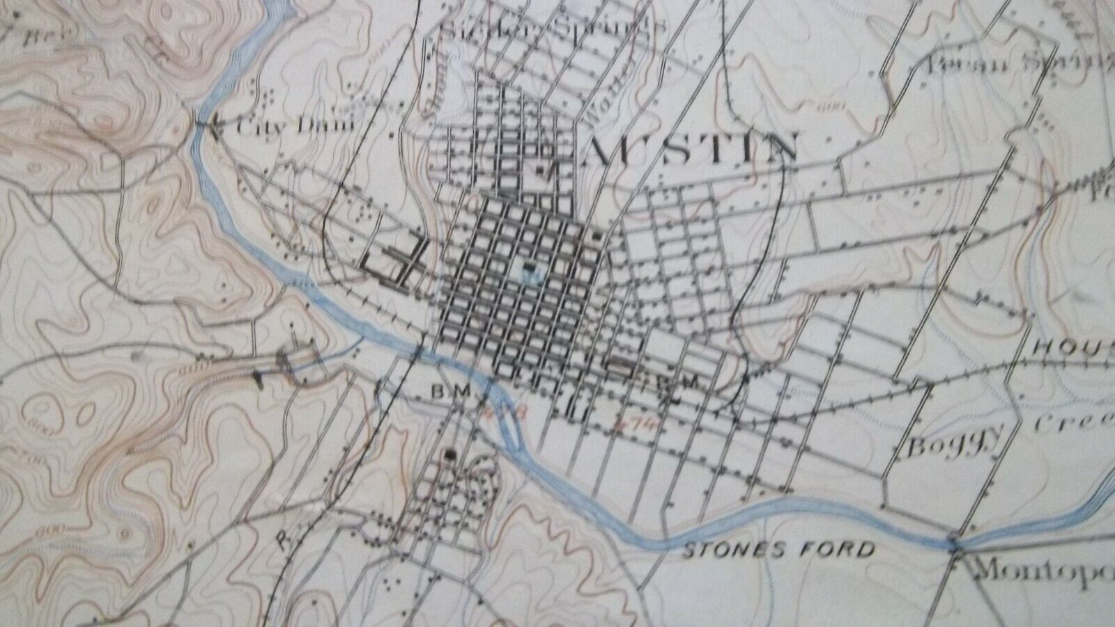 1901 Topo Map AUSTIN TEXAS Surveyed in 189596  Railroads  Buildings  Antique