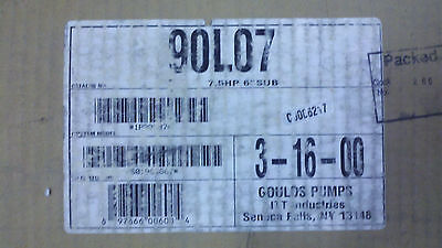 Goulds Pumps Itt 7.5hp Wet End 6 Submersible Model 90l07 S02281917