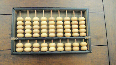 Vintage 60's Wooden Abacus 9 Rods 63 Beads - Math Arithmetic Caculator - Japan
