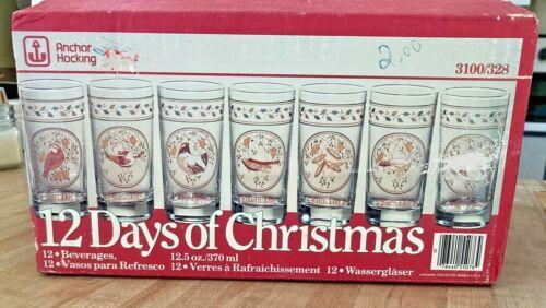 Vintage ANCHOR HOCKING 12 Days of CHRISTMAS Beverage Glasses Full Set NEW