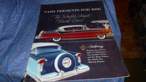 Booklet Nash Presents for 1956 The Worlds Finest Travel Cars Red Car on Cover