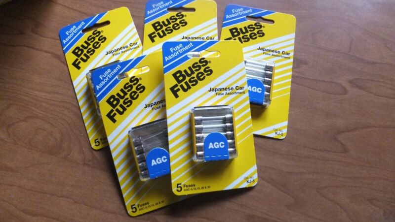 Cooper Bussmann Buss Box Of 5 Cards Of 5 Fuses Each Kj-5 Japanese Car Assortment