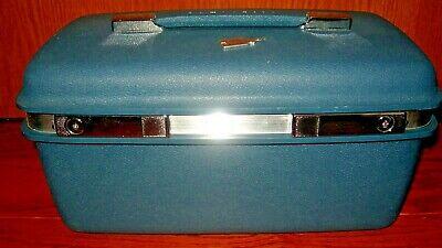 Vtg MCM Samsonite SATURN Luggage dark Blue Turquoise luggage Case w/ Key
