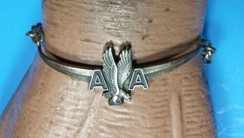 AMERICAN AIRLINES FIRST OFFICER PILOT WINGS CHAIN BRACELET STERLING SILVER LGB