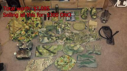 Assorted Army kit, knives, bags, hats, pouches, waterbottles, cam Andrews Farm Playford Area Preview