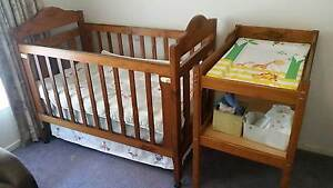 Australian Pioneer cot and change table include mattresses. Stawell Northern Grampians Preview
