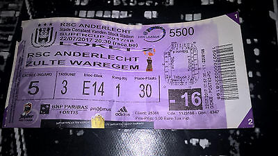 TICKET : RSC ANDERLECHT - ZULTE WAREGEM SUPERCUP BELGIUM 2017