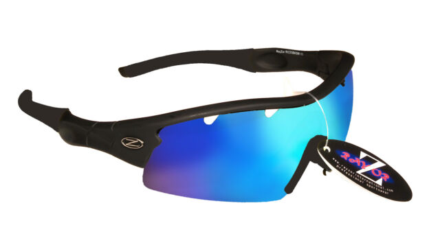 RayZor Black Uv400 1 Piece Vented Blue Mirrored Lens Archery Sunglasses