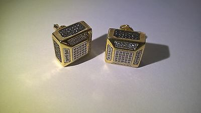 MENS ICED OUT Earrings 14K Yellow Gold Plated Lab Diamond Hip Hop Bling