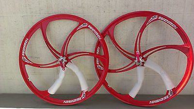 26'' x1.75 MTB Mountain Mag wheelset Rims with Q/R 6-Bolt Disc 8 9 10 speed Red