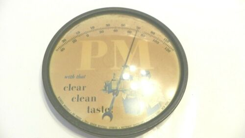 vtg rare advertising PM whiskey thermometer, national distillers