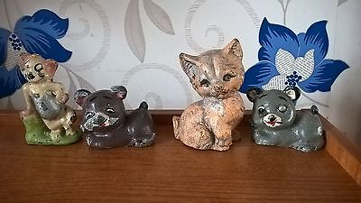 FOUR HEAVY POSSIBLE METAL ANIMAL ORNIMENTS - VINTAGE