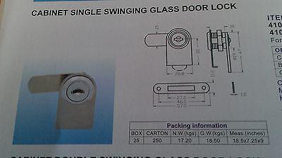 Chrome Lock Cabinet Single Swinging Glass Door Keyed Alike C410-1-110