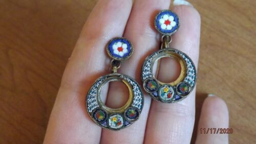 Antique Italian Glass MICRO MOSAIC Screw-Back Dangle Earrings - Italy