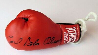 Carl Bobo Olson Signed Autographed Mini Boxing Glove Black Ink GV819120