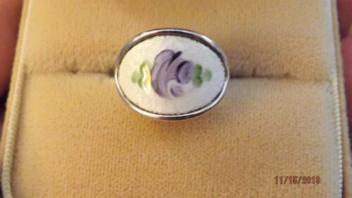 Vintage Sarah Coventry  GUILLOCHE ENAMEL PURPLE FLOWER Adjustable RING