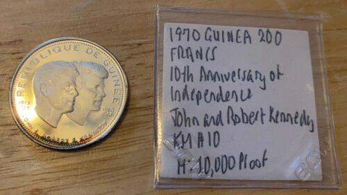 1970 Guinea 200 Francs John and Robert Kennedy KM#10 Proof 10,000 minted