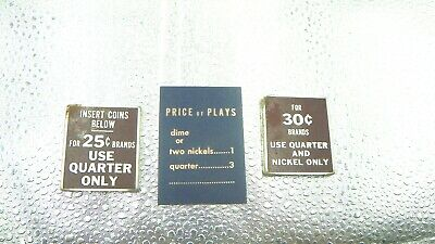 lot of 3 vtg coin operated vending machines metal labels for sale  Taylorsville