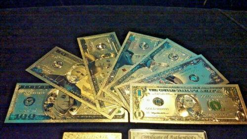 aCOMPLETE SET W/CERTIFICATE>GOLD Banknote Set MINT Condition$1,$,5,10,20,50,$100