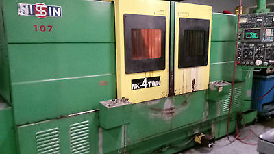 Nissin Nk-4 Twin 30hp Twin Opposed Spindle Cnc Lathe Fanuc Ot Auto Doors Running