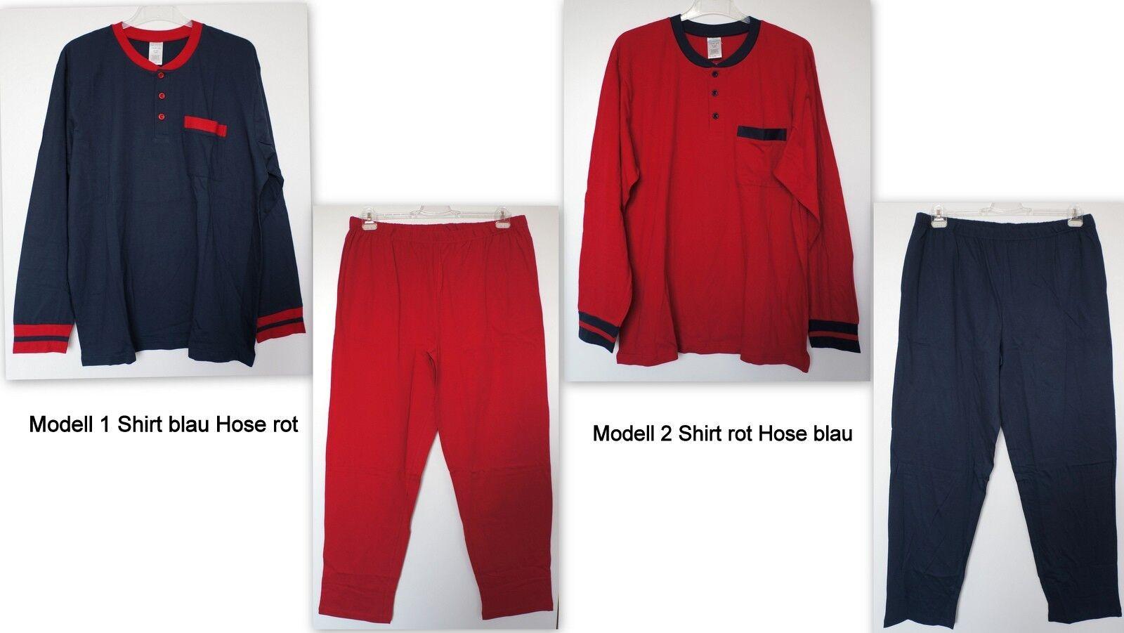 NEU Übergröße Herren Schlafanzug Pyjama Shirt mit Hose 2 Farben Gr.56/58