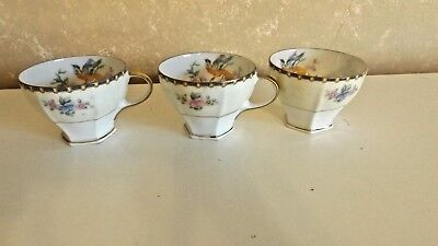 "Vintage Set of 3 China Demitasse Cups 2"" Floral Bird Design Altpohlau CL9-17"