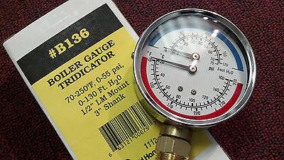 Boiler Gauge Tridicator 70-250 F 0-55 Psi 12 Lm Mount 3 Shank 3 Dial