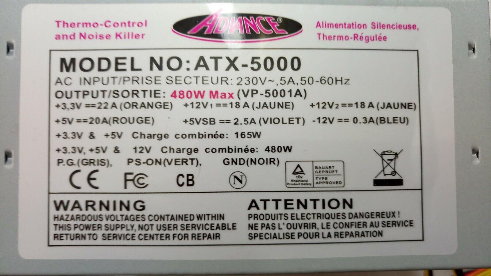 ✅alimentation pc advance atx-5000 480watts