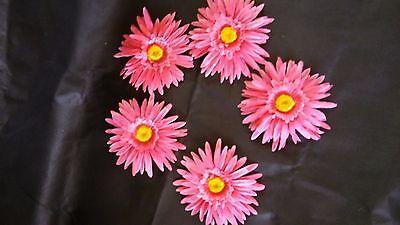 10  x  Gerbera  pink  Blumenköpfe  Kunstblumen -Seidenblumen