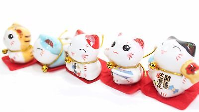 Set of 5 Japanese Cat Figurines Cute Smiley Waving Lucky Fortune Cat US Seller](Guy Waving)