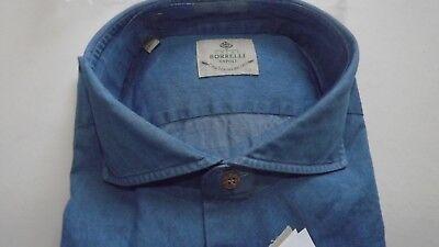 Borrelli Naples Real Tailoring 1° Line Shirt 43 Cotton Handmade sh1044