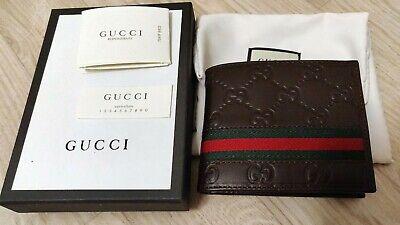 Brown leather Gucci  Guccissima Web Bi-fold Wallet for men