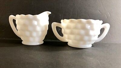 White Milk Glass Cube Design Creamer and Open Sugar Bowl