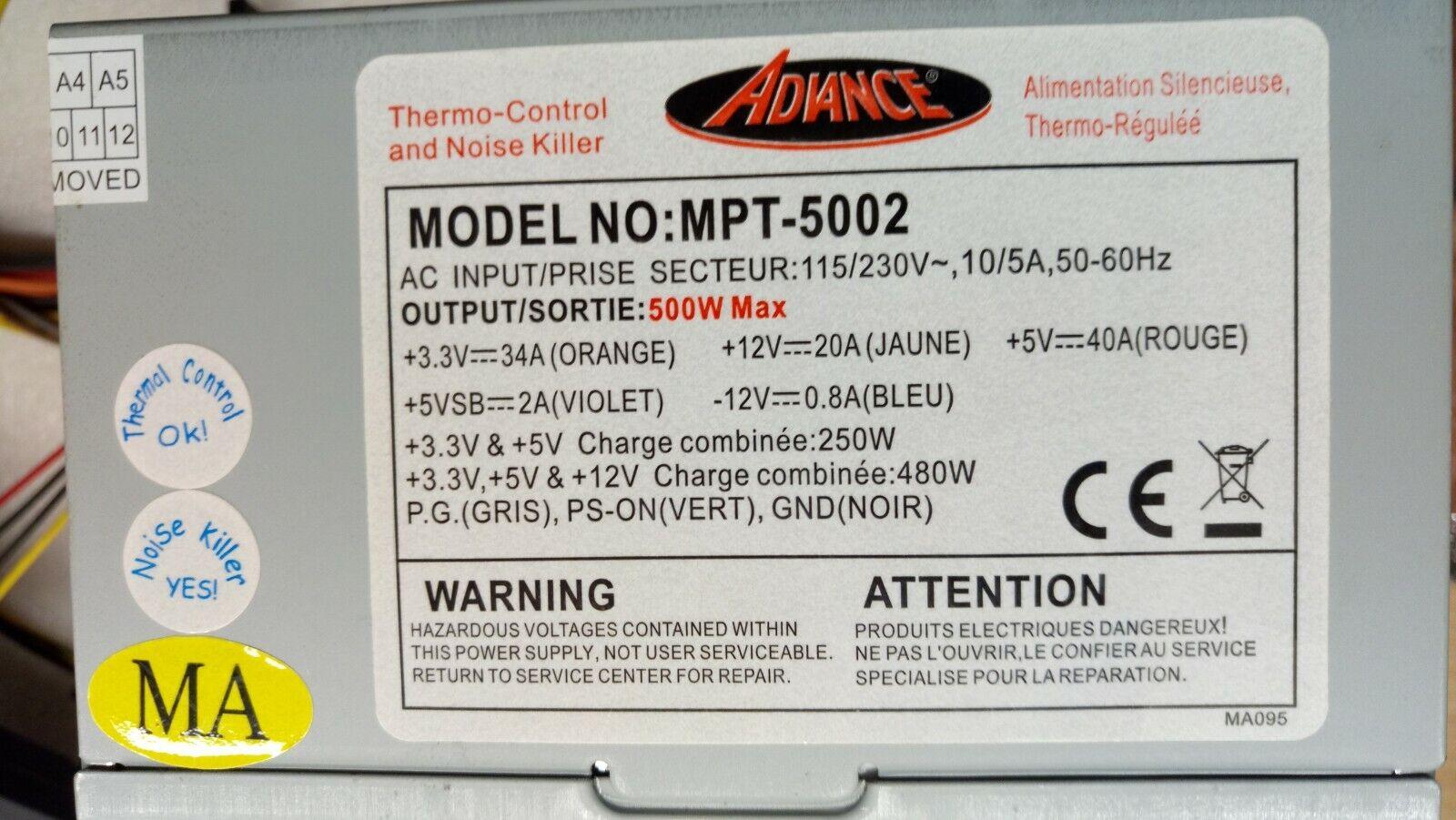 ✅alimentation pc atx advance mpt-5002 500watts