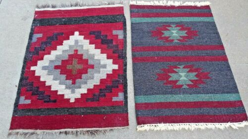 Mexican Zapotec Southwestern Vintage Authentic Woven Rug with Deep Reds pair
