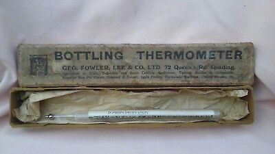 VINTAGE BOXED 9 INCH BOTTLING THERMOMETER BY GEO,FOWLER,LEE & CO.LTD,READING.