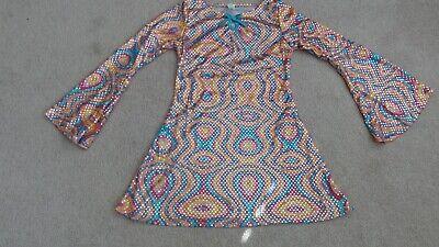 Girls Disco Dress (GIRLS MULTI-COLOR DISCO DIVA GO-GO DANCER 70s COSTUME SIZE MEDIUM 8-10 BY)