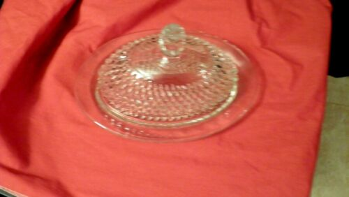Vintage Indiana Glass Diamond Point Clear Glass Oval Covered Butter Dish