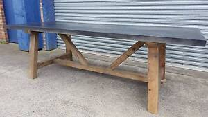 NEW INDUSTRIAL RECYCLED VINTAGE RUSTIC TIMBER ZINC DINING TABLE Chipping Norton Liverpool Area Preview