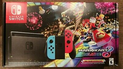New Nintendo Switch Mario Kart 8 Deluxe Console Bundle (Neon Red/Blue Joy-Con)