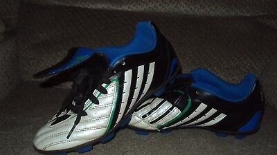 ADIDAS TRAXION ATHLETIC SOCCER CLEATS-SIZE 4 1/2 YOUTH WHITE/BLUE/BLACK