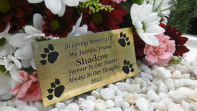 PERSONALISED ENGRAVED BENCH PET MEMORIAL PLAQUE DOG / CAT 10X5CM GOLD