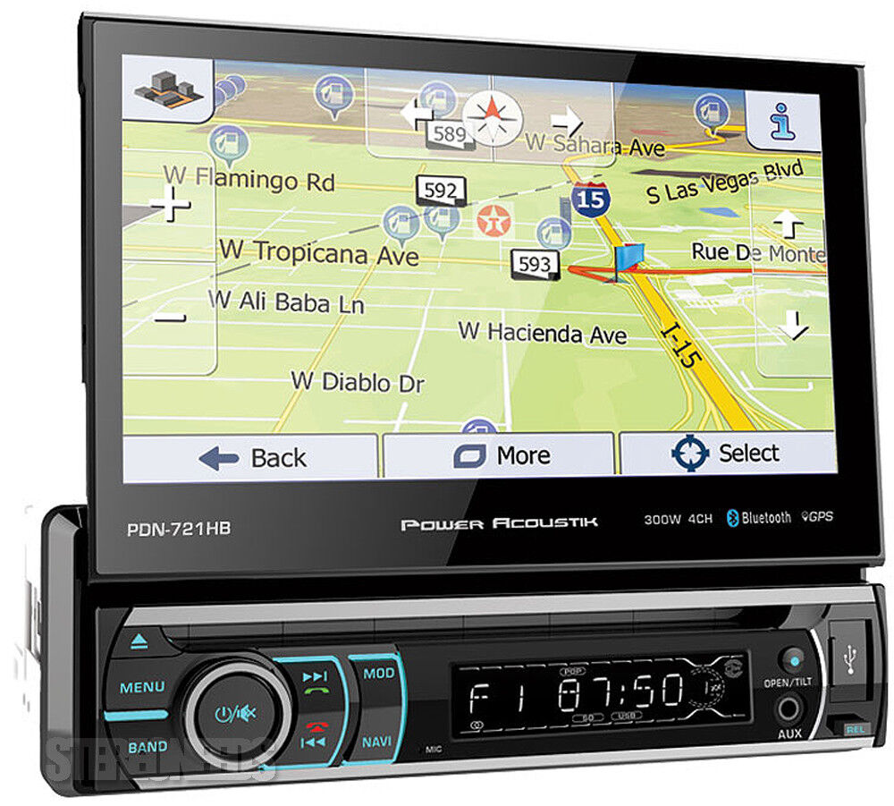 "Power Acoustik PDN-721HB 1 DIN CD/DVD Player 7"" Flip Up GPS"