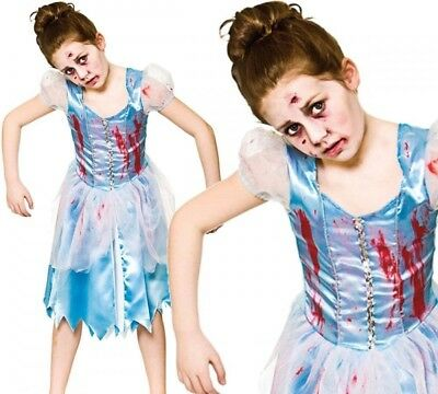 Zombie Cinderella Girls Halloween Fairytale Fancy Dress Costume Ages 5-13